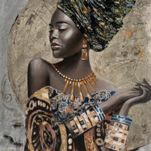 Tableau peinture femme turban avec elements textile.