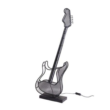 Lampe guitare a led en metal noir.
