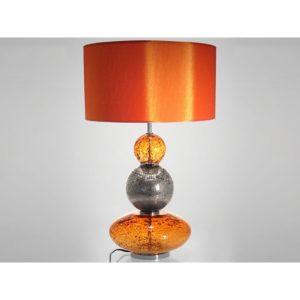 Lampe en verre soufflé orange et gris - collection VOLCANIQUE