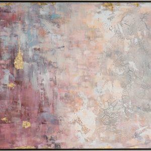 Peinture sur toile abstraite rose bleu or dore.