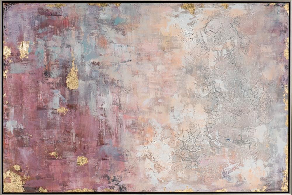 Peinture Sur Toile Abstraite Couleurs Rose Bleu Or Peint Main