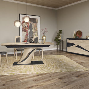 Salle a manger en chene collection FLORE - Table pied central