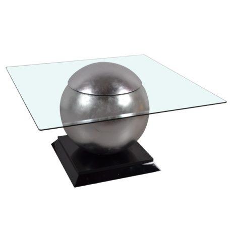 Table basse design carree boule argent chrome plateau en verre.