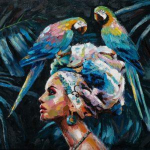 tableau peinture femme avec 2 perroquets.