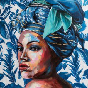 peinture sur toile femme beauty in blue