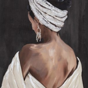 Tableau peint a la main - femme beaute mate de dos.