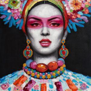 Tableau peinture sur toile femme couleurs 70x100cm – WOMAN WITH FLOWER DECORATION II