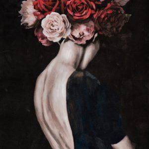 Tableau peinture femme de dos avec perruques de roses.