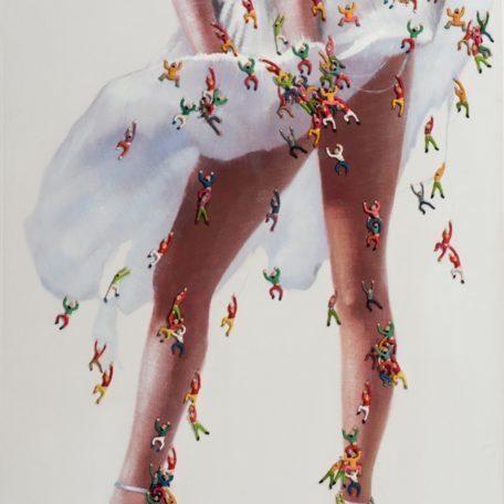 Tableau peinture  effet 3D robe dans le vent.