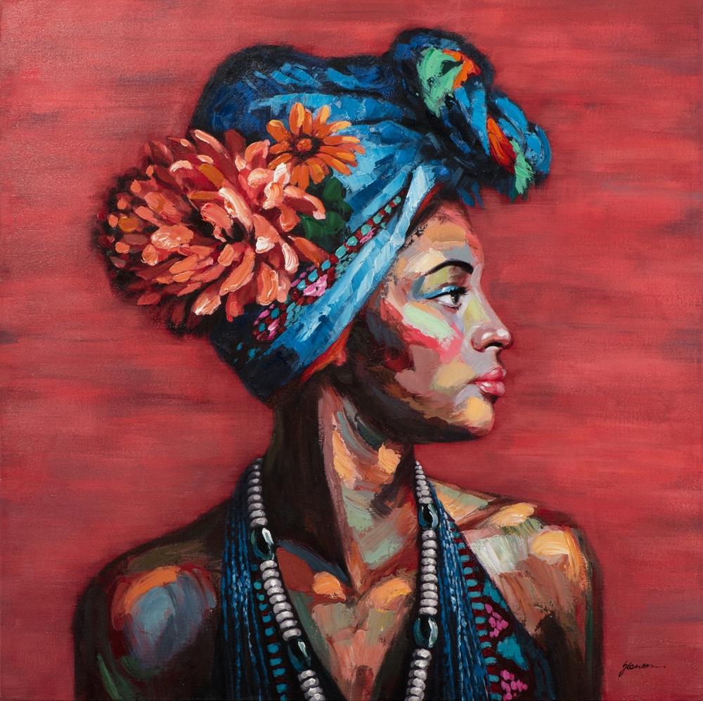 tableau peinture couleurs femme turban bleu peint a la main