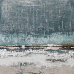 Peinture sur toile abstraite bleu beige argent.