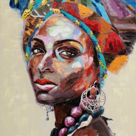 Tableau femme coloree peint a la main - cultur woman.