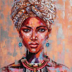 Peinture sur toile femme beaute africaine avec turban.