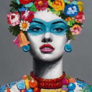 Tableau peint a la main -portrait femme avec fleurs et decoration.