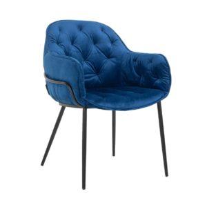 Chaise NOMI en velours bleu