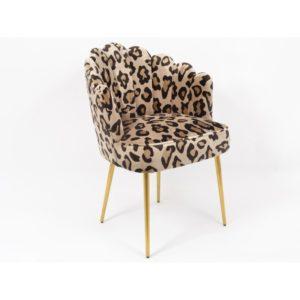 Fauteuil coquille tissu motif imprimé léopard pieds métal or– LEOPARDO