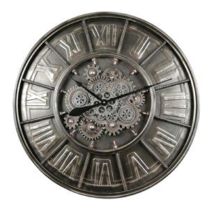 Horloge industrielle engrenages gris metal anthracite chiffres romains vintage