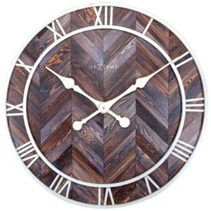 Horloge ronde en bois et metal blanc de la collection NEXTIME