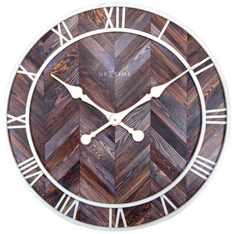 Horloge ronde en bois et metal blanc de la collection NEXTIME