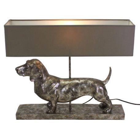 Lampe chien teckel gris antique avec abat-jour gris
