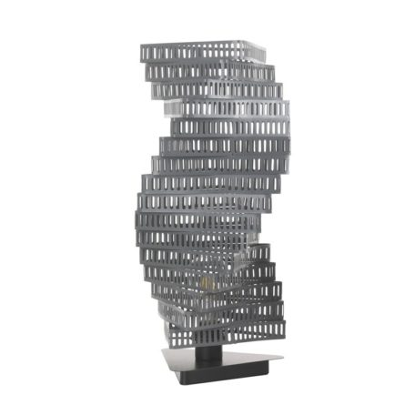 Lampe design TORSADE en metal gris deco salon bureau chambre