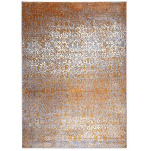 Tapis moderne et design en viscose motif orange et gris  – ECO