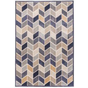 Tapis moderne et design en viscose motif losanges relief couleurs  – HERA BLEU ou MULTICOLORE