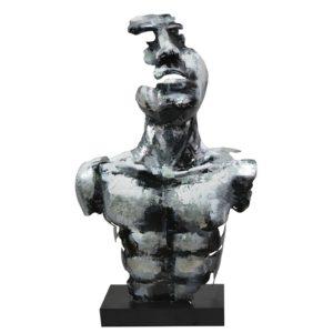 Statue buste homme en  métal argent de la collection PIGMENT.