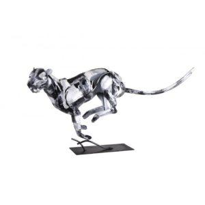 Statue panthere en metal gris argent de la collection PIGMENT.