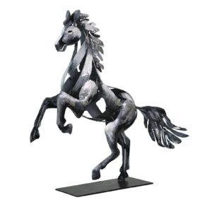 Statue cheval cabré en metal gris argent de la collection PIGMENT