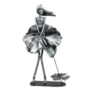 Statue femme marylin en metal gris argent de la collection PIGMENT