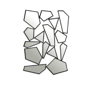 Miroir original forme atypique eclats design en metal noir