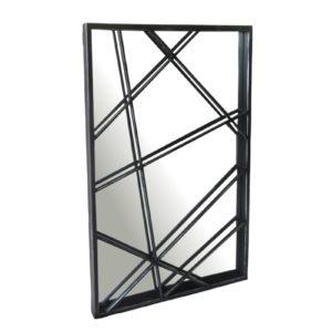 Miroir mural original en metal gris noir lignes enchevêtrees