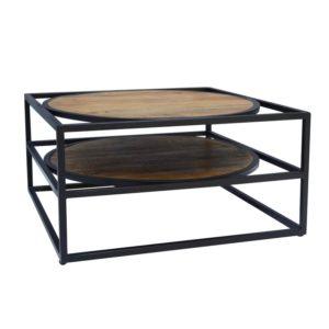 table basse bois metal noir