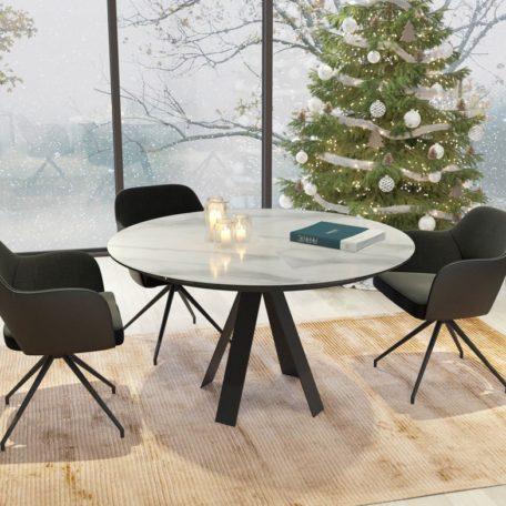 table ronde ceramique blanche