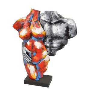Statue bustes couple en métal couleurs et gris de la collection PIGMENT