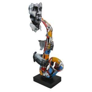Statue saxophoniste en métal couleurs et gris de la collection PIGMENT
