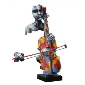 Dans la meme collection : Statue violoncelliste en métal couleurs et gris de la collection PIGMENT