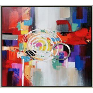 Peinture sur toile abstraite avec cercle en alu et cadre argenté