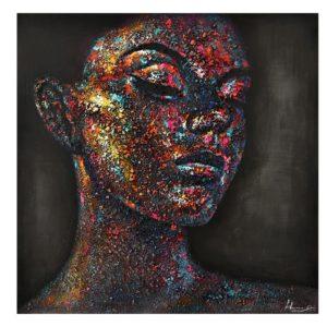 Peinture sur toile visage femme effet 3D